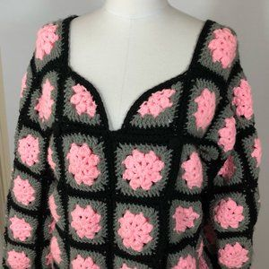 Vintage Granny Square Cardigan Sweater Crochet